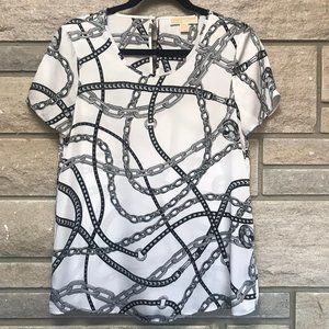 Michael Kors White Chain Pattern Short Sleeve Top